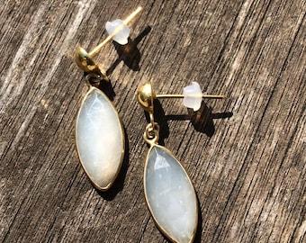 White Moonstone Earrings