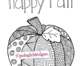 Happy Fall Coloring Page