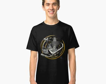 B.S.A. Goldstar engine inspired classic bespoke Motorcycle art T-Shirt INISHED