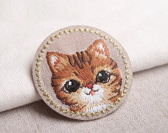 Christmas gifts,Lovely Cat Patch,Embroidered Applique for Bags/Clothes,Iron on Patch,Sew on Patch,Animal Patch