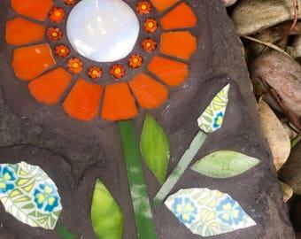 Orange Flower on Slate Mosaic