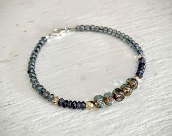 Beaded Bracelet, Gemstone Bracelets for Women, Womens Bracelet, Mothers Day Gift, Iolite Bracelet, Czech Glass Beaded Bracelet, Boho Jewelry
