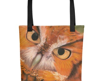 Spotted Owl - Amazingly beautiful full color tote bag with black handle featuring children's donated artwork.