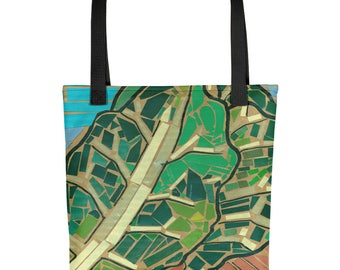 Collards Mosaic - Amazingly beautiful full color tote bag with black handle featuring children's donated artwork.