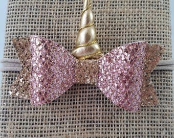 Unicorn Glitter Bow, Unicorn Horn, Unicorn Clip, Unicorn Bow, Unicorn Headband