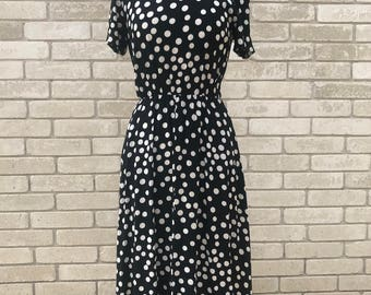 Vintage 50's Black with White Polka Dot Short Sleeve Dress | Elastic Waist