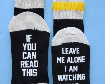 Golf Fan Player If You Can Read This Leave Me Alone I'm Watching Golf Socks - Great Gift! Birthday Father's Day Christmas