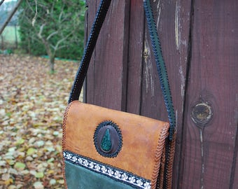 Leather bag Mexican, Natural, boho, hippie, American
