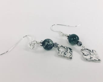 Sterling Hearts with Moss Agate