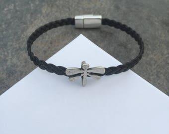 Dragonfly braided leather bracelet for women