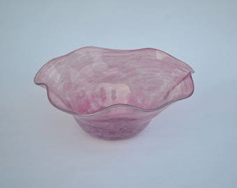 Hand Blown Glass Bowl: Large Pink Fluted Decorative Vessel Art, Christmas Gifts for Her