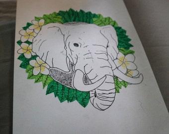 Elephant Art Print (A5)
