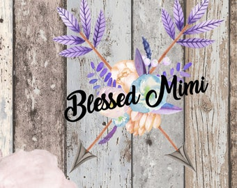 Watercolour Arrows Blessed Mimi Printed Vinyl Decal, Blessed Mimi, Printed Decal