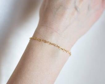 Gold Heart Bracelet   24k Gold Plated Bracelet   925 Sterling Silver   Dainty Bracelet   Modern Minimalist Bracelet   Simple Chain