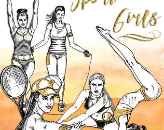 Sport Girls Clip Art | Hand Drawn Graphics | Illlustration, Digital Cliparts | Girl Clip Art | Watercolour Clip Art | Fitness