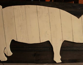 Wooden Pig Wall Art