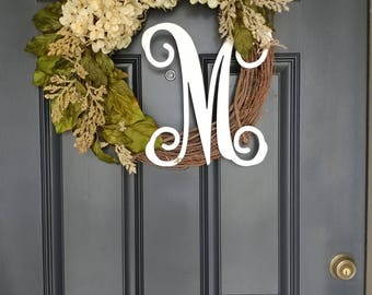 Everyday Wreath,Farmhouse Wreath,Grapevine Wreath,Front Door Wreath,Spring Wreath,Personalized Gifts,Wreaths,Hydrangea Wreath,Initial Wreath