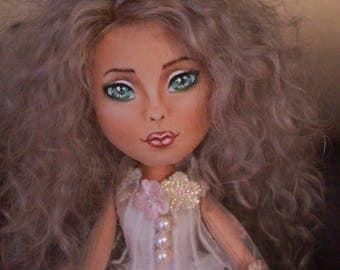Doll craft textile doll vintage  stuffed doll tilda doll art doll in cloth birthday gift decor doll interior doll  fabric dollgift rag doll