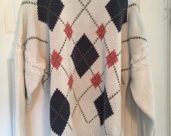 Vintage Men's Structure Argyle Sweater