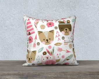 Decorative pillow cover, pillow for children, decoration, illustration, pink, Brown, white, cushion, pillows, arrow, brown bear