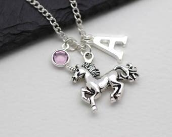Personalised Unicorn Necklace, Unicorn Gift, Unicorn Jewelry, Initital Necklace, Charm Necklace, Swarovski Crystal