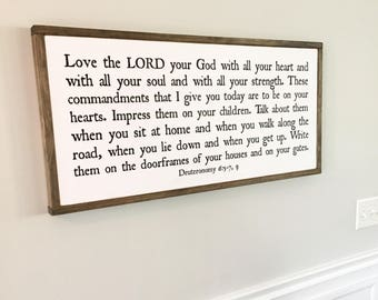 "16""X36"" Love the Lord your God Deuteronomy 6:5-7,9 Wood Framed Sign"