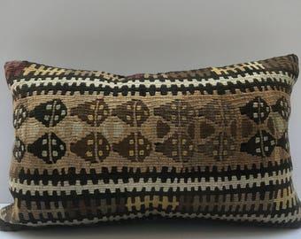Vintage Pillow Cover 12x20 , Lumbar Throw Pillow , Kilim Pillow Cover , Brown Pillow , Sofa Cushion Cover , Couch Pillows , Lumbar Pillow