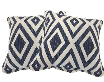 Blue Rhombus Pattern Pillow