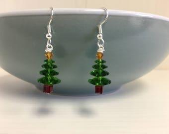 Swarovski Crystal Christmas Tree Earrings