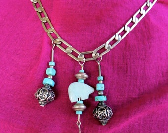 Choker with Talismans of Bears and Silver, Turquoise and Gemstones