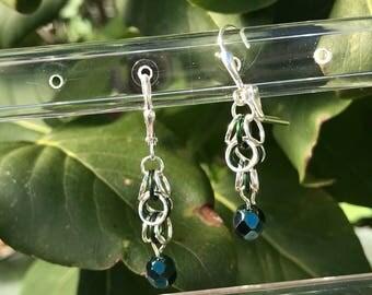 Shaggy Loops Earrings, Chainmaille Earrings, silver earrings, chainmail earrings, dark green earrings