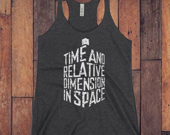 Time and Relative Dimension in Space Doctor Who Distressed TARDIS  Womens Nerdy Racerback Workout Tank Top