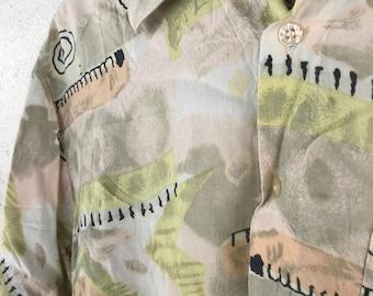 Vintage Patterned Party Shirt - Size M