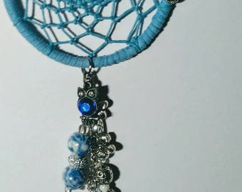 Dreamcatcher Car Charm - Rearview Mirror Ornament in baby blue