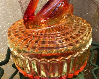 Vintage Jeannette Glass Covered Dish