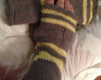 Yellow and Gray Fingerless Gloves