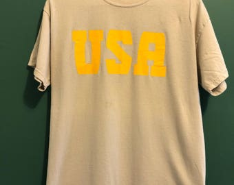 USA T-Shirt / Beige and Yellow