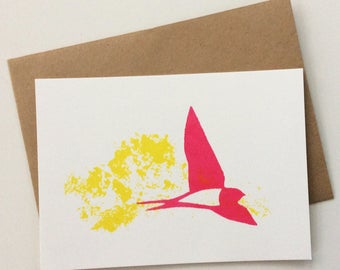 Greeting card Swallow in Golden Green-Rose