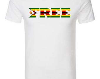 Men's T-Shirt with Zimbabwe Flag logo