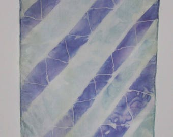 Batik Silk Scarf Purple Celery White Colors