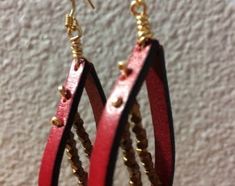 Red Leather Earrings with Brass Beads