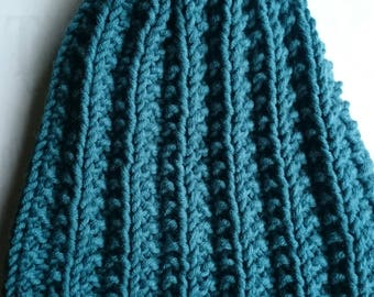Hand-kntted BOBBLE HAT - TEAL coloured