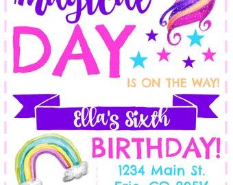 Unicorn and Rainbows Birthday Invitation