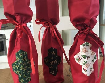Christmas Wine Gift Bags with Hexagon Patchwork  (set of 3)