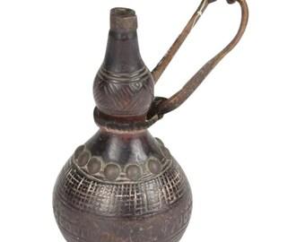 Rare Antique African 19th Century Chokwe Wooden Gun Powder Flask, D. R. Congo/Angola