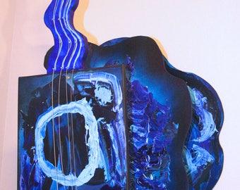 The Blues | Guitar | 3-D wood art | painted wooden guitar