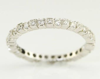 Eternity stackable ring, 14K White Gold, brilliant round diamonds, fashion band ring