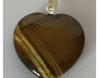 Tiger eye heart pendant size 2 cm