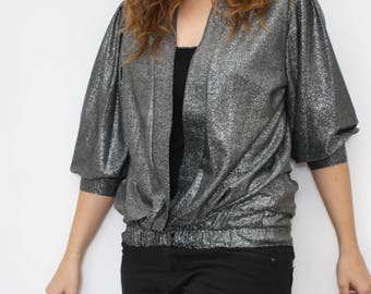 vintage silver vest - christmas / new year party - 80s chic gray sparkly silverwire - womens vest - 3/4 sleeve - 1980 - Size 40 / M