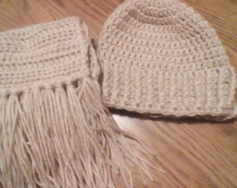 Beige Crochet Adult Hat and Scarf Set